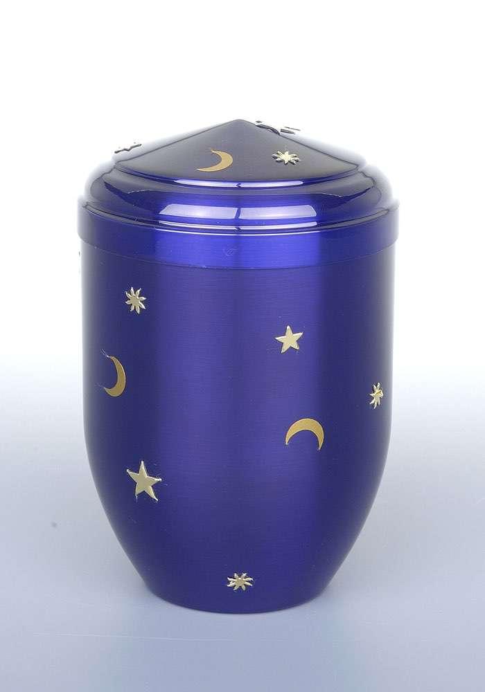 """Kupfer blau """"Sonne Mond Sterne"""" • 0,5l - 80,00 €, 1,0 - 90,00 €, 1,5l - 100,00 €, 2,0l - 110,00 €, 3,0l - 120,00 € (inkl. MwSt.) Kupferurne blau (Hochglanz) mit Sonne, Mond und Sternen."""