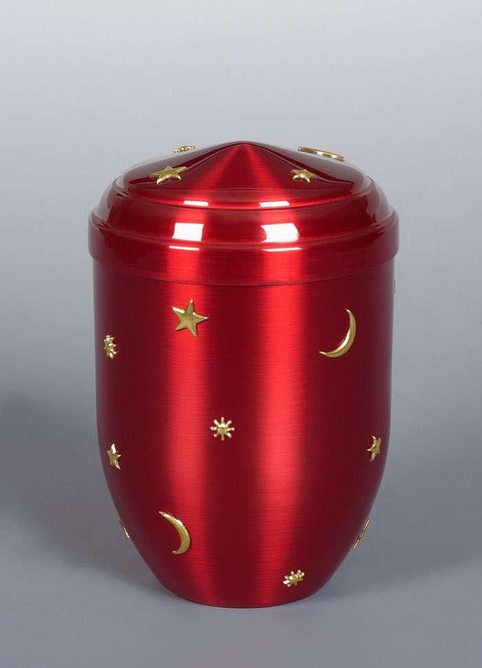 "Kupfer rot ""Sonne Mond Sterne"" • 0,5l - 80,00 €, 1,0 - 90,00 €, 1,5l - 100,00 €, 2,0l - 110,00 €, 3,0l - 120,00 € (inkl. MwSt.) Kupferurne rot (Hochglanz) mit Sonne, Mond und Sternen."