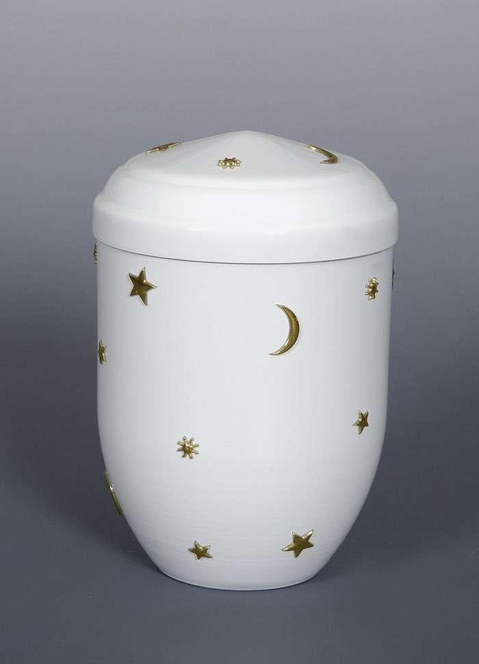 """Kupfer weiß """"Sonne Mond Sterne"""" • 0,5l - 80,00 €, 1,0 - 90,00 €, 1,5l - 100,00 €, 2,0l - 110,00 €, 3,0l - 120,00 € (inkl. MwSt.) Kupferurne weiß (Hochglanz) mit Sonne, Mond und Sternen."""