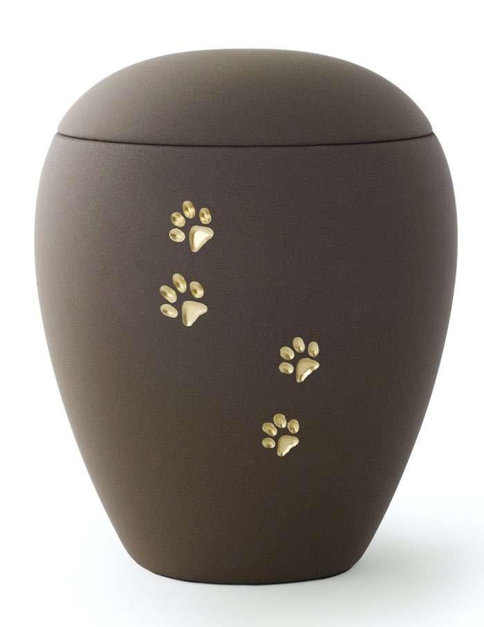 Pfoten Braun • 0,5l - 65,00€, 1,5l - 80,00€, 2,8l - 95,00€ (inkl. MwSt.) Keramikurne Braun matt mit goldenen Pfotenabdrücken