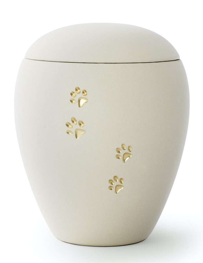 Pfoten Creme • 0,5l - 65,00€, 1,5l - 80,00€, 2,8l - 95,00€ (inkl. MwSt.) Keramikurne Cremeweiss matt mit goldenen Pfotenabdrücken