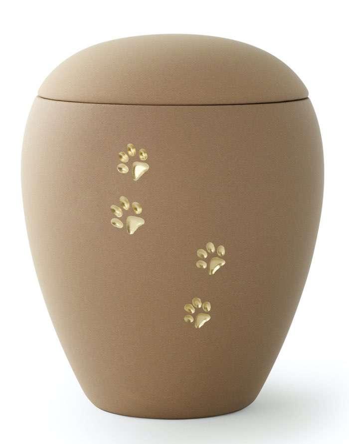 Pfoten Sand • 0,5l - 65,00€, 1,5l - 80,00€, 2,8l - 95,00€ (inkl. MwSt.) Keramikurne Sand matt mit goldenen Pfotenabdrücken